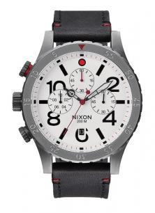 Zegarek Nixon 48-20 Chrono Leather Gunmetal/White A363 486