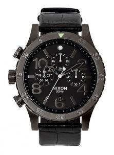 Zegarek NIxon 48-20 Chrono Leather Black Gator A363 1886